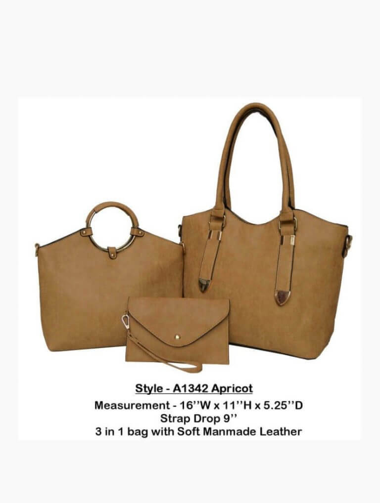 Odell New York | 3-in-1 Handmade Leather Handbag in Apricot Brown