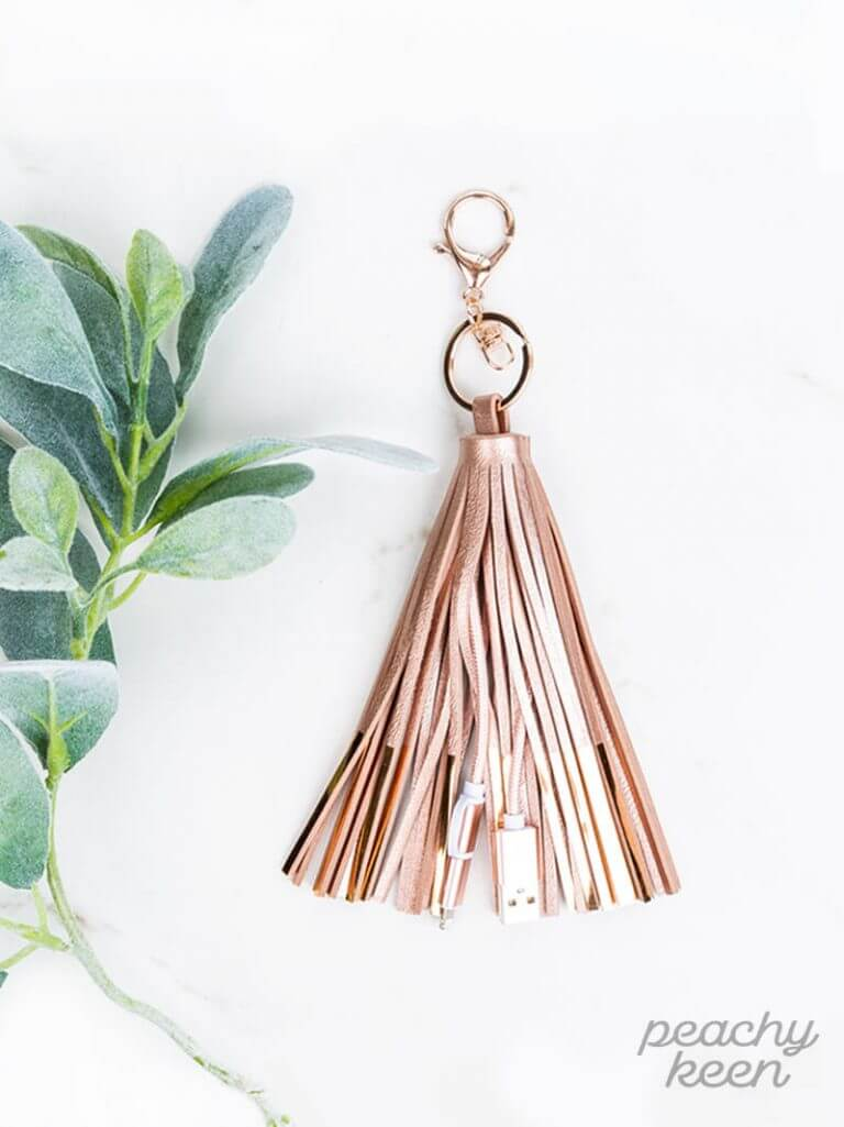 Peachy Keen | Tassel Keychain with Charging Cable - Rose