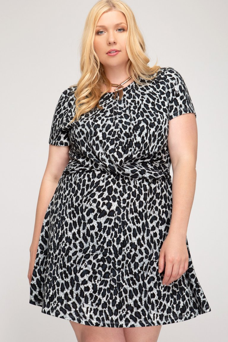 Leopard Print Dress with Front Twist Detail